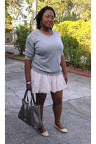 gray Forever 21 top - pink Wet Seal skirt - beige Urbanogcom shoes - gray enzo a