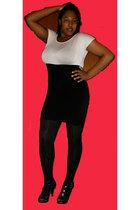 white dress - black stockings - black shoes