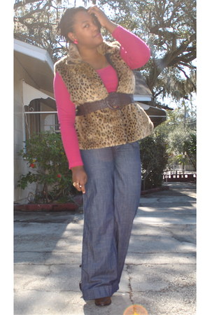 brown thrifted vest - hot pink Old Navy t-shirt - blue Victorias Secret jeans -