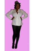white shirt - black stockings - black shoes - white hat - gold earrings - gold n