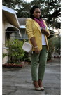 Yellow-worthington-blazer-hot-pink-plaid-max-rave-scarf-off-white-thrifted-v