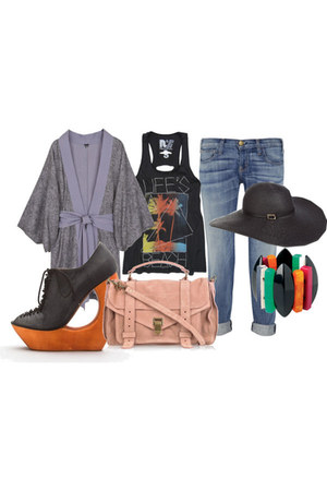 Current Elliot jeans - Melissa Odabash hat - PROENZA SCHOULER bag - Jeffrey Camp