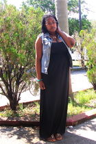 blue DIY vest - black Old Navy dress - gold Old Navy shoes - gold random necklac