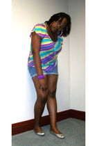 purple Old Navy t-shirt - blue Wet Seal shorts - silver Urbanogcom shoes - silve