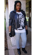 black jacket - white top - blue jeans - black boots - black purse - black gloves