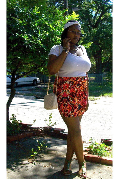 white Old Navy t-shirt - orange asos skirt - green Wet Seal shoes - beige thrift