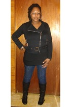 faith 21 jacket - Walmart top - Wet Seal jeans - Traffic Shoes boots - Fabuless
