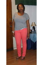 gray Old Navy t-shirt - pink LEI for Walmart jeans - silver Old Navy shoes - sil