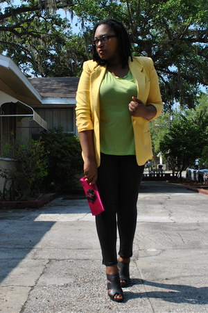 black liquid Candies leggings - yellow Goodwill blazer - magenta gifted purse -