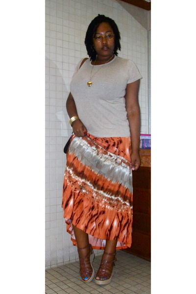 beige Old Navy t-shirt - orange Tracy Evans skirt - brown Rocketdog shoes - gold