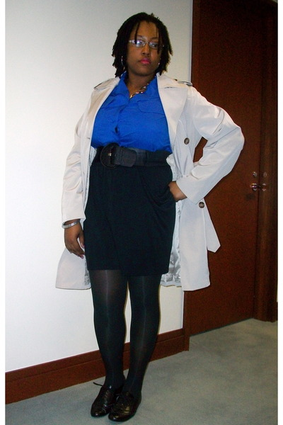 beige Croft&Barrow coat - blue thrifted blouse - black Target skirt - black Fore