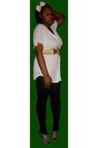 white blouse - gold belt - black stockings - gray shoes - white hat - gold earri