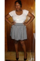 Old Navy t-shirt - Wet Seal skirt - urban originals shoes - Wet Seal earrings -