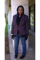 pink vintage blazer - black Old Navy cardigan - blue Old Navy jeans - black Targ