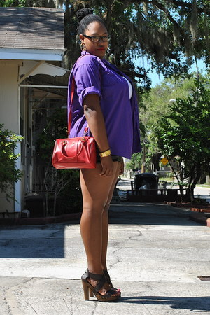 deep purple Goodwill shirt - red mini doctor Ebay bag - black Ebay shorts - dark