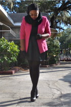 hot pink thrifted blazer - black rainbow skirt - black Walmart socks - black Wet