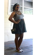 black Old Navy top - black rainbow skirt - silver Urbanogcom shoes - black Forev