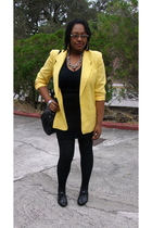yellow blazer - black t-shirt - black skirt - black shoes - black purse - silver