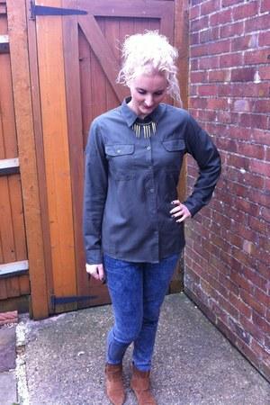 Topshop shirt - Miss Selfridge boots - new look jeans - Topshop necklace