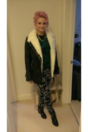 River Island coat - new look boots - Topshop pants - Topshop top