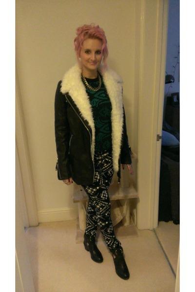 River Island coat - new look boots - Topshop pants - Topshop top