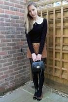 black M&S tights - black thrifted bag - thrifted shorts - black Miss Selfridge j