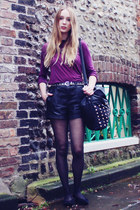 black Forever 21 bag - black Forever 21 shorts - magenta River Island top