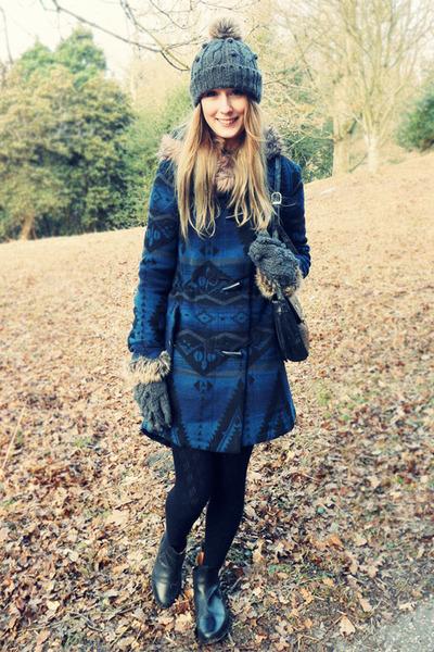 heather gray Dorothy Perkins hat - black saddlemaster boots