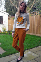 Primark shirt - light orange Miss Selfridge pants - hm jumper - black Urban Outf
