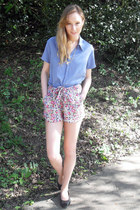 thrifted shirt - new look shorts - thrifted necklace - Urban Outfitters flats