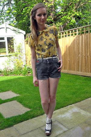 thrifted shorts - Miss Selfridge socks - yellow H by Henry Holland blouse