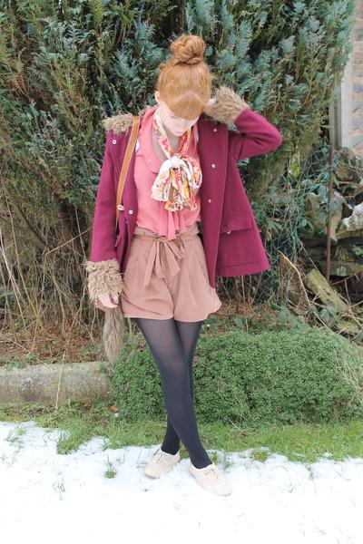 salmon new look blouse - maroon Primark coat - gifted scarf - tawny Primark bag