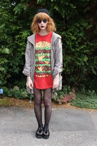 red Primark t-shirt - dark gray Koi Couture shoes - beige Primark coat