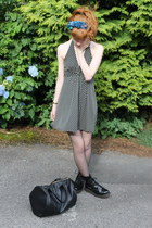 vintage scarf - doc martens boots - thrifted dress - black Ebay bag