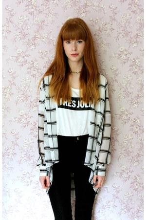 white Primark shirt - white H&M t-shirt - black H&M pants