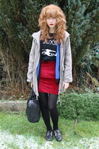 black vintage top - ruby red Urban Outfitters dress - beige Primark coat
