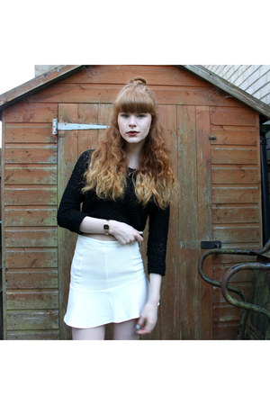 white H&M skirt - gold casio watch - black H&M jumper