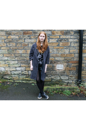 black Choies sweater - charcoal gray asos coat - black H&M shorts
