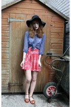 ruby red Urban Outfitters skirt - black Primark hat - blue thrifted blouse