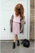 black doc martens boots - dark khaki Primark coat - light pink vintage sweater