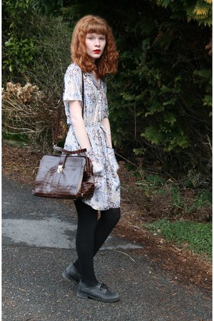 light blue vintage dress - black Office shoes - dark brown Urban Outfitters bag