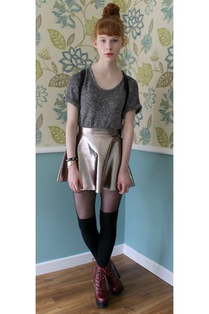silver Missguided skirt - brick red Jeffrey Campbell boots - black yeswalker bag