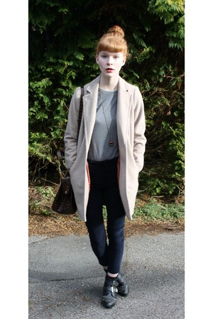 navy Topshop pants - black Varanni boots - beige Primark coat