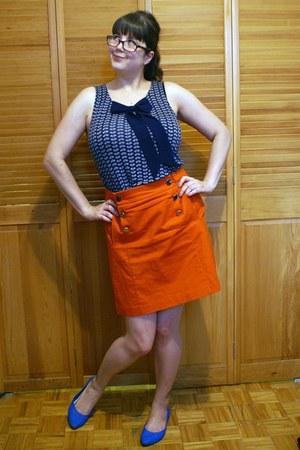 orange banana republic skirt - navy Jacob top - blue Ardene flats