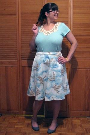 sky blue Anthropologie skirt - navy TOMS flats - light blue Joe Fresh t-shirt