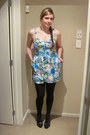 Blue-trademe-dress-black-farmers-stockings-black-hannahs-heels