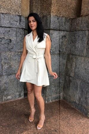 white Sheinsidecom dress - brown Ramarim sandals - bronze online accessories