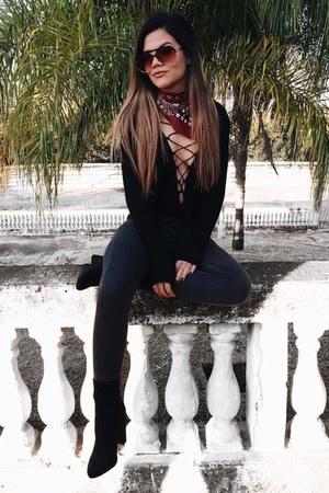 black romwe shirt - black AmiClubWear boots - charcoal gray romwe pants
