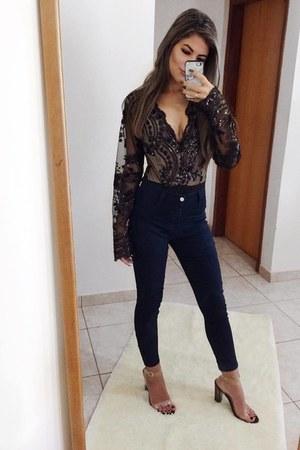 black zaful bodysuit - silver Zgla iphone case - white AmiClubWear heels