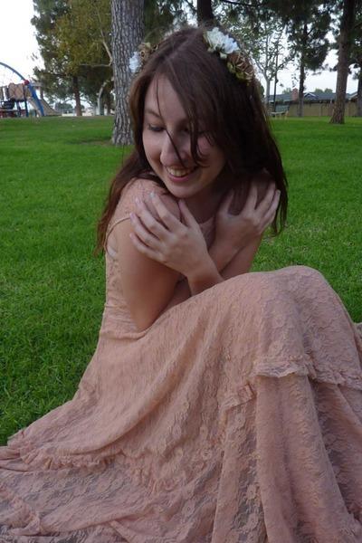light pink lace slip free people dress - peach solid slip free people dress